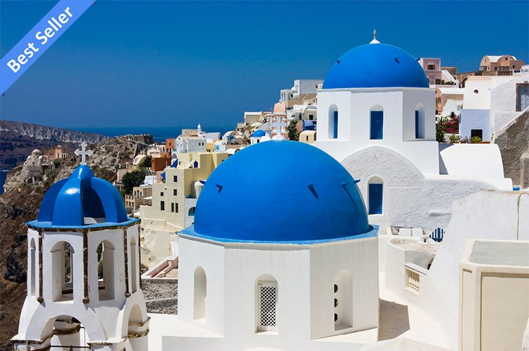 santorini blue domed church