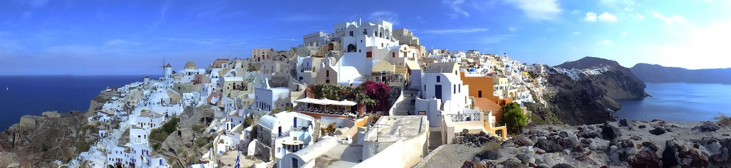 panoramic photo of oia