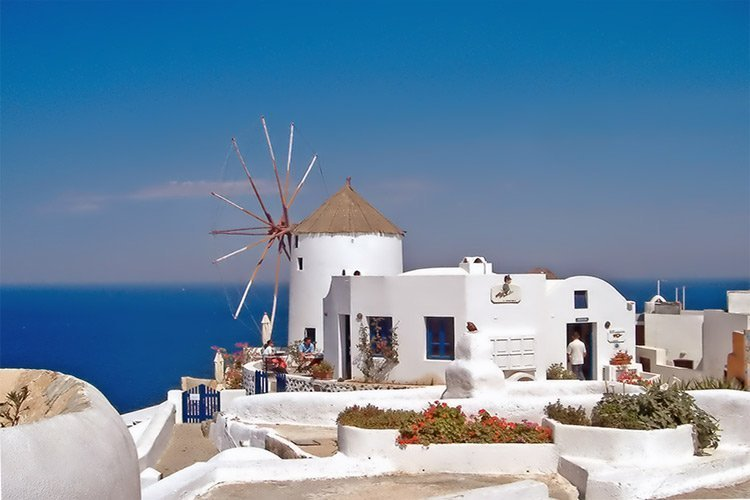 traditional windmill in greek island