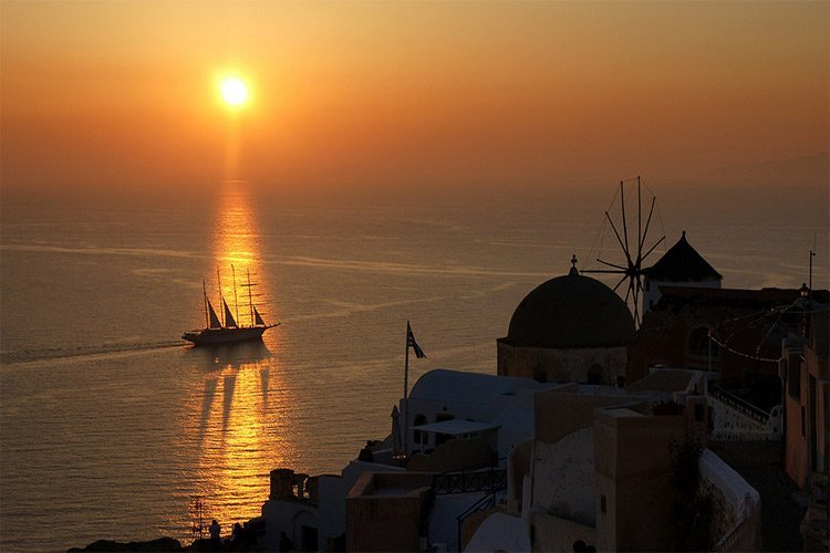 the incredible sunset of santorini